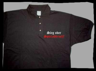Sieg oder Spielabbruch! Poloshirt Altdeutsch +++ schwarz + gesti