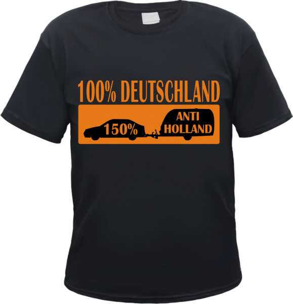 150% Anti Holland T-Shirt + Wohnwagen + schwarz