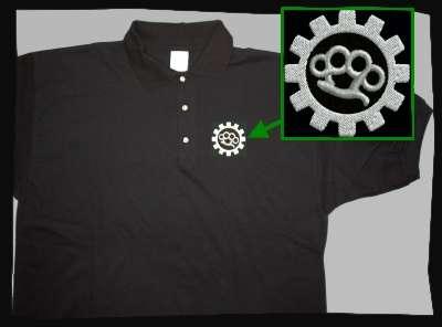 Schlagring Poloshirt + bestickt + schwarz