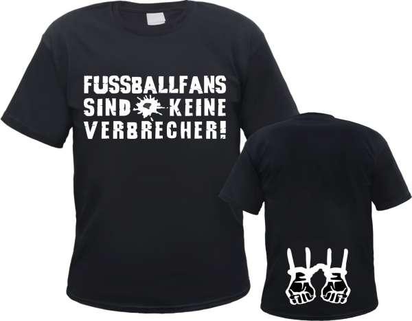 Fussballfans sind keine Verbrecher T-Shirt HANDSCHELLEN + schwar