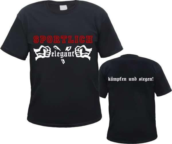Sportlich Elegant T-Shirt - Kämpfen und Siegen - Schwarz