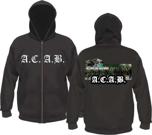 ACAB Kapuzenjacke - Polizei / Altdeutsch - Schwarz
