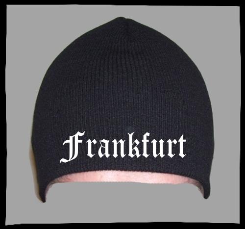 FRANKFURT Beanie / Strickmütze + schwarz + bestickt