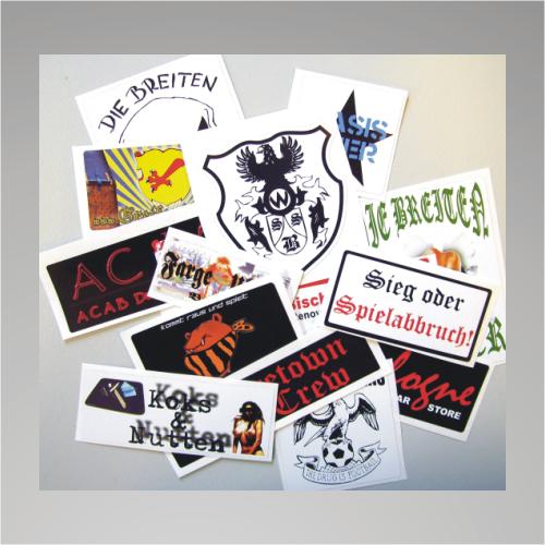 100 Aufkleber / Sticker 8x4cm mit eigenem Motiv