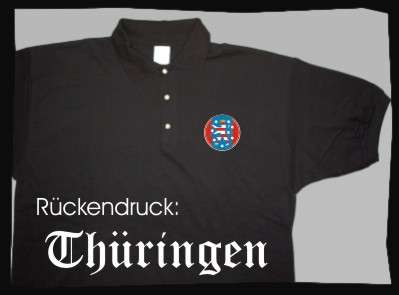 Bundesland: THÜRINGEN Poloshirt + schwarz mit Wappen