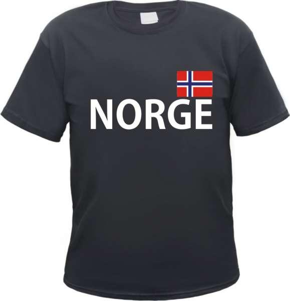 NORGE / NORWEGEN T-Shirt + schwarz mit Flagge
