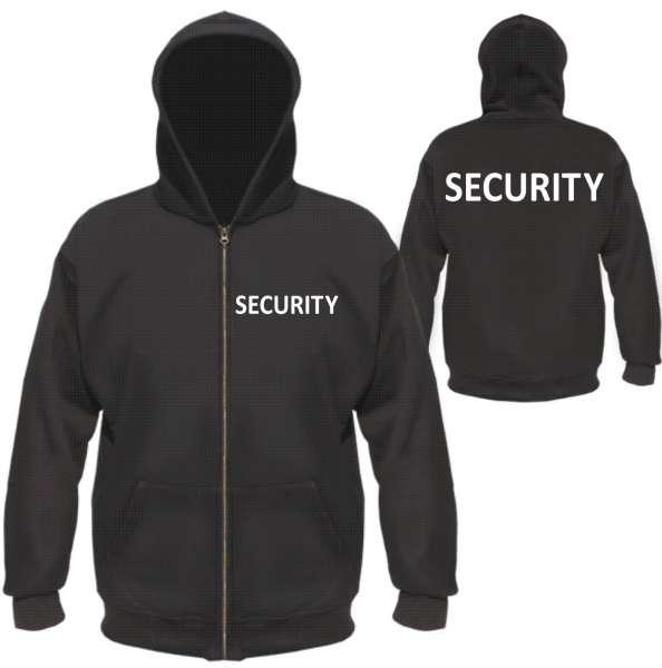 SECURITY Kapuzenjacke - Druck Weiss oder Silber Reflektierend