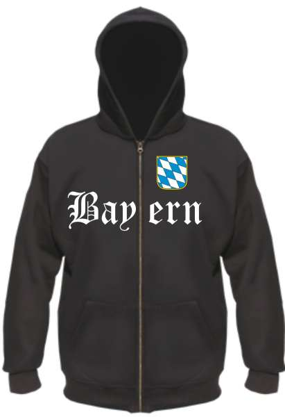 Bundesland: BAYERN Kapuzenjacke + schwarz mit Wappen
