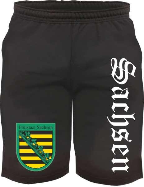 Bundesland: SACHSEN Kurze Jogginghose + schwarz mit Wappen