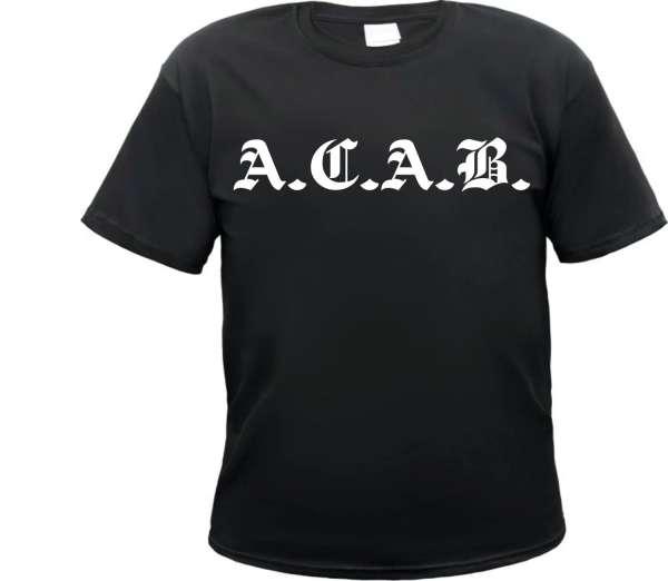 Angebot - ACAB T-Shirt Altdeutsch - Schwarz Weiss