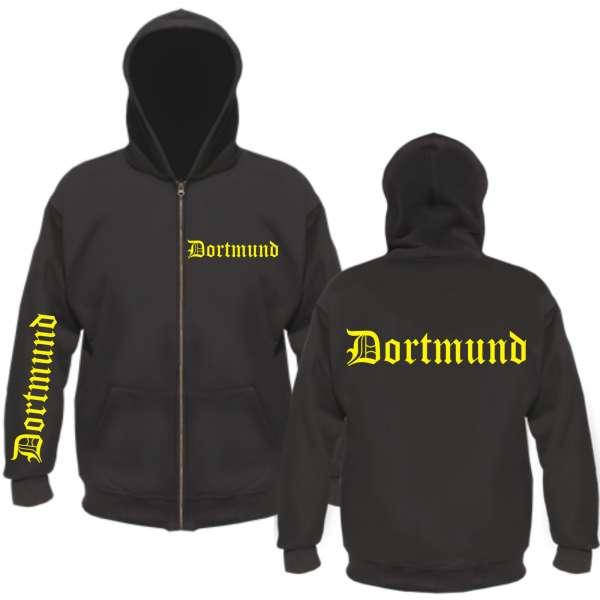 """DORTMUND Kapuzen-Jacke """"FÄN"""" + Altdeutsch + schwarz"""