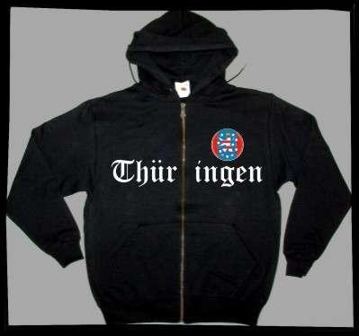 Bundesland: THÜRINGEN Kapuzenjacke + schwarz mit Wappen