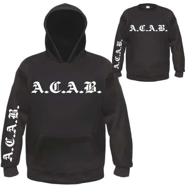 A.C.A.B. Sweatshirt - Altdeutsch - Front/Ärmel/Nacken