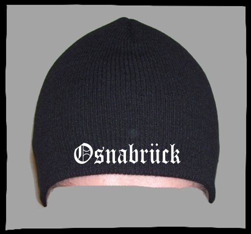 OSNABRÜCK Beanie / Strickmütze + schwarz + bestickt