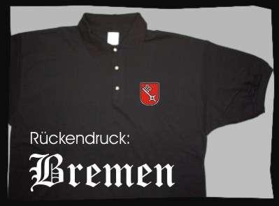 Bundesland: BREMEN Poloshirt + schwarz mit Wappen
