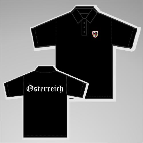 Österreich Poloshirt mit Wappen +++ schwarz