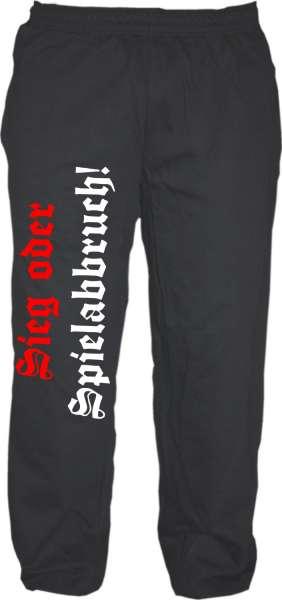Jogginghose - Sieg oder Spielabbruch - Schwarz Weiss Rot