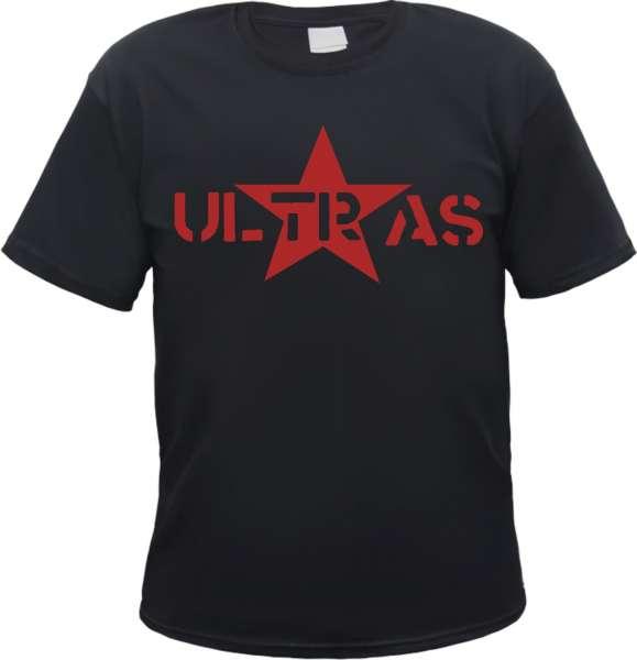 Ultras T-Shirt - Roter Stern - Schwarz - Roter Druck