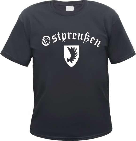 OSTPREUSSEN T-Shirt + Schwarz / Altdeutsch / Wappen