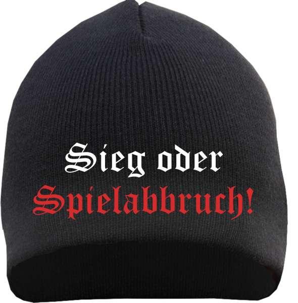 Sieg oder Spielabbruch Beanie Mütze - Altdeutsch - Schwarz