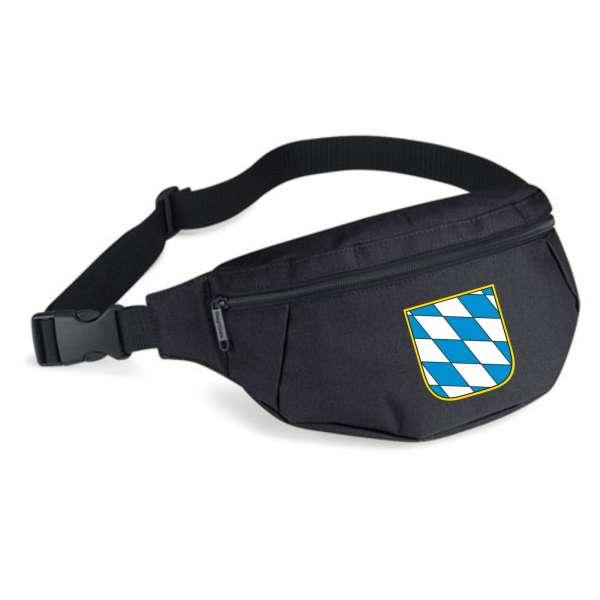 Bundesland: BAYERN Bauchtasche + schwarz mit Wappen