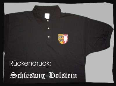 Bundesland: SCHLESWIG-HOLSTEIN Poloshirt + schwarz mit Wappen
