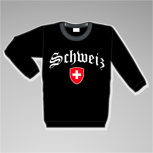 Schweiz Sweatshirt Altdeutsch +++ schwarz/weiss
