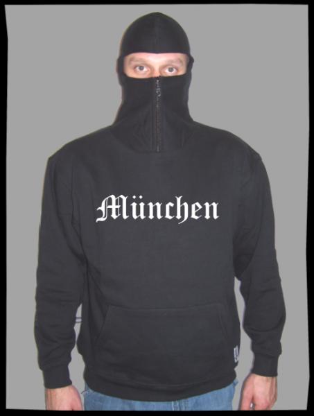 MÜNCHEN Ninja Hoodie + großer Druck + schwarz