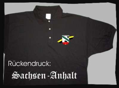 Bundesland: SACHSEN-ANHALT Poloshirt + schwarz mit Wappen