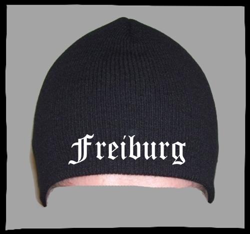 FREIBURG Beanie / Strickmütze + schwarz + bestickt