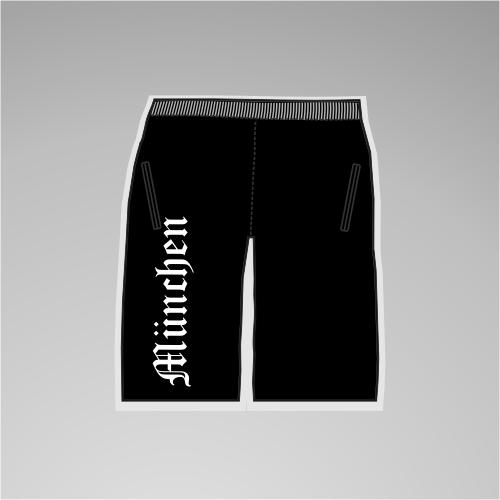 MÜNCHEN Assi-Sweat-Shorts + Altdeutsch + schwarz