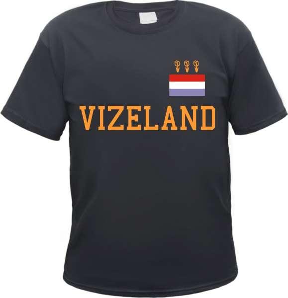 VIZELAND T-Shirt + mit Holland Flagge + schwarz