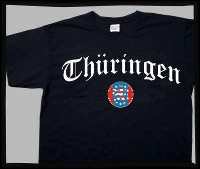 Bundesland: THÜRINGEN T-Shirt + schwarz mit Wappen