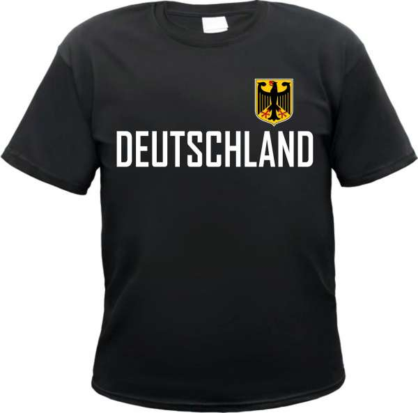 Deutschland T-Shirt - BLOCKSCHRIFT - Mit Wappen - Schwarz