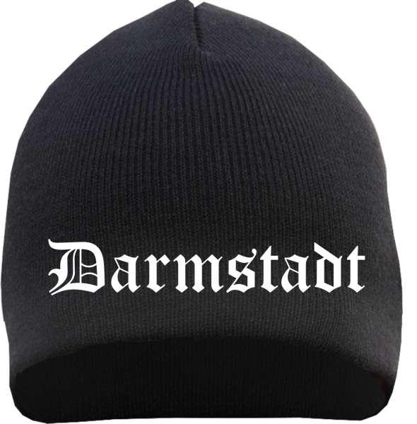 DARMSTADT Beanie / Strickmütze + schwarz + bestickt