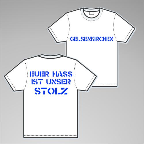 GELSENKIRCHEN T-Shirt + EUER HASS + weiss/blau