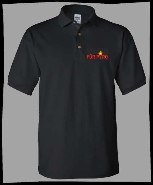 Für Pyro Poloshirt + bestickt + schwarz