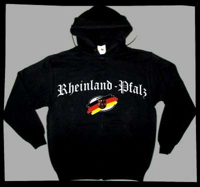 Bundesland: RHEINLAND-PFALZ Sweatshirt + schwarz mit Wappen