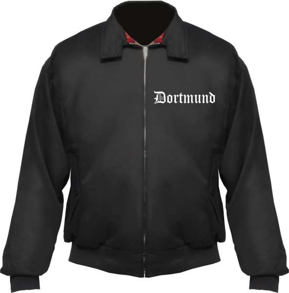 DORTMUND Harringtonjacke + schwarz + bestickt