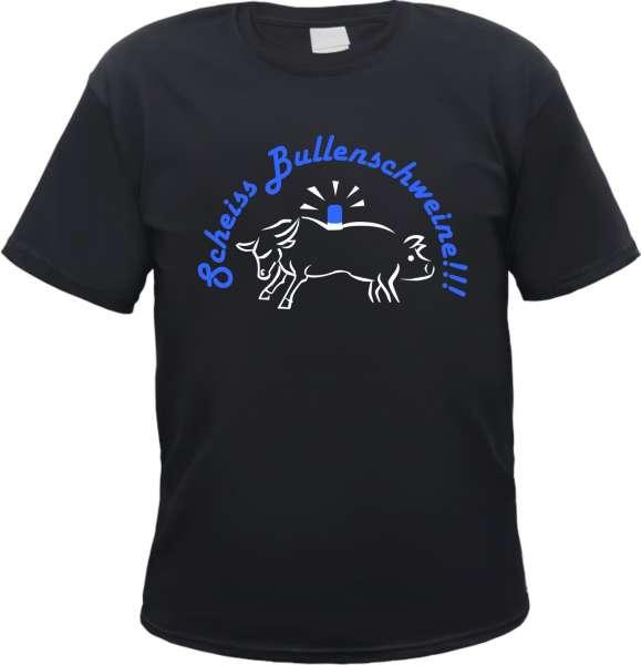 Scheiss Bullenschweine T-Shirt + schwarz/blau-weiss