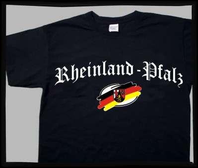 Bundesland: RHEINLAND-PFALZ T-Shirt + schwarz mit Wappen