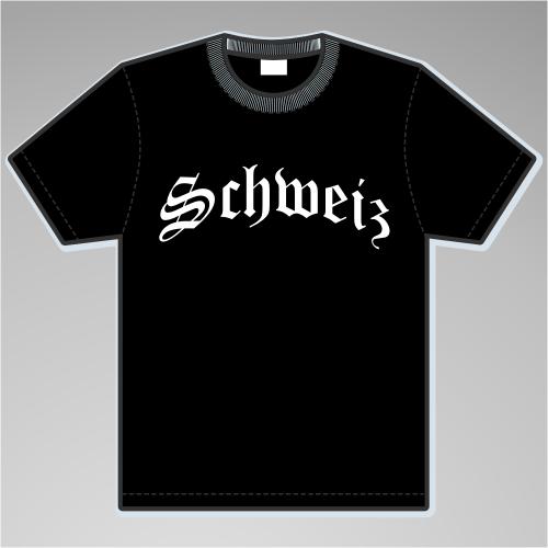 Schweiz T-Shirt Altdeutsch +++ schwarz/weiss