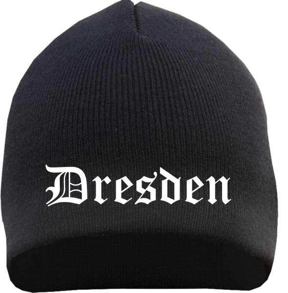 DRESDEN Beanie / Strickmütze + schwarz + bestickt
