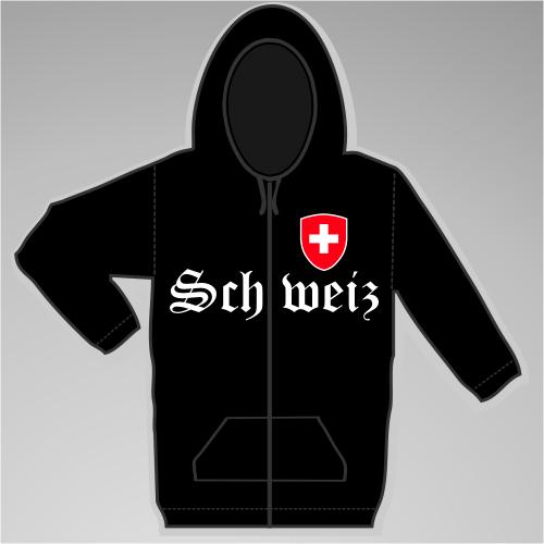 Schweiz Kapuzenjacke mit Wappen +++ schwarz