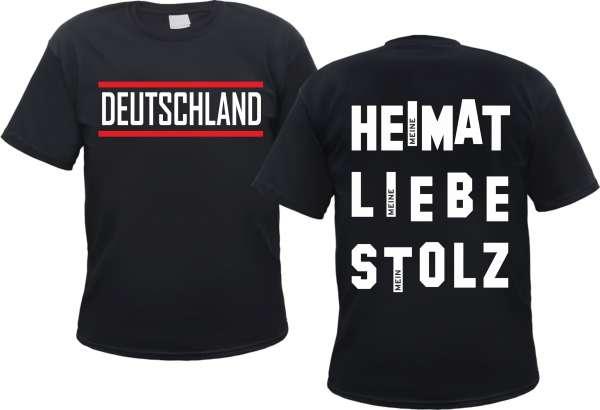Deutschland T-Shirt - HEIMAT LIEBE STOLZ - Schwarz/Weiss/Rot