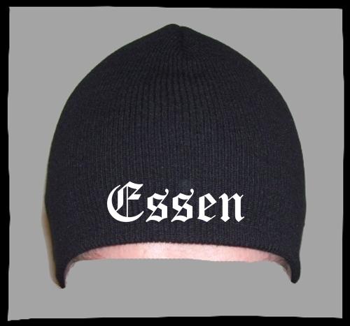 ESSEN Beanie / Strickmütze + schwarz + bestickt