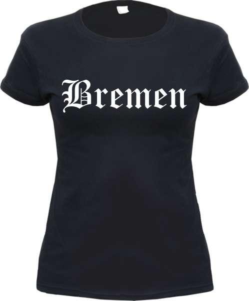 BREMEN Damen-Shirt + Altdeutsch + schwarz/weiss