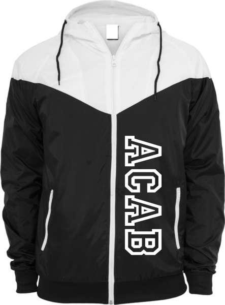 Windrunner Jacke - ACAB College Style - Schwarz Weiss