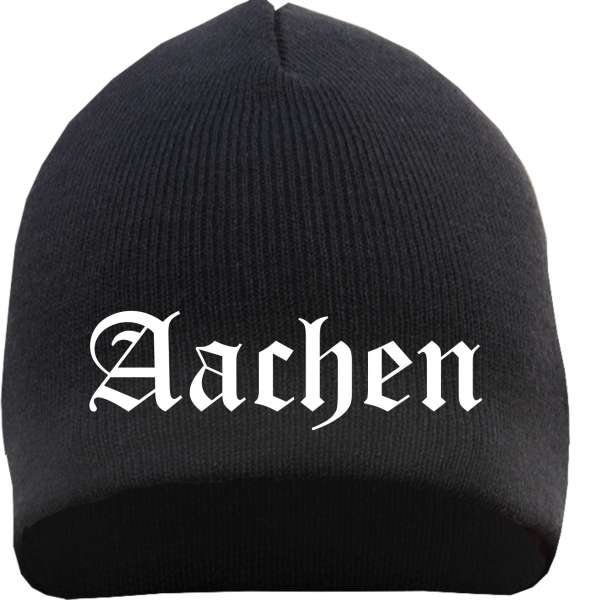 AACHEN Beanie Mütze - Schwarz - Bestickt