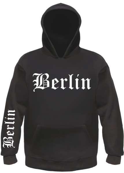BERLIN Sweatshirt + Altdeutsch Front/Ärmel + Schwarz